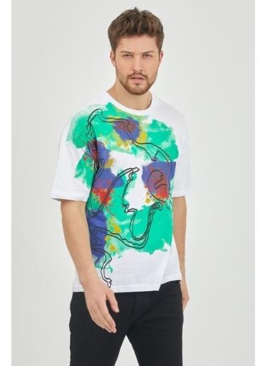 XHAN Kırmızı Sulu Boya Baskılı Salaş T-Shirt 1Kxe1-44627-04 Beyaz
